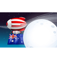 An air balloon travelling with the flag of vector image