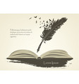 feather with flying birds and open book vector image