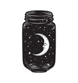 hand drawn wish jar with crescent moon and stars vector image