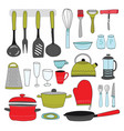 kitchenware collection colorful kitchen tools on vector image