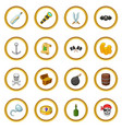 pirate culture symbols icons circle vector image