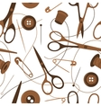 Seamless background pattern of sewing accessories vector image