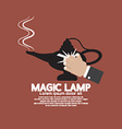 Hand Wiping The Magic Lamp vector image vector image