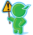 green hero with warning sign vector image