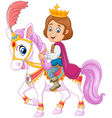 Cartoon handsome prince riding horse isolated vector image vector image