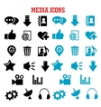 Social media black and blue flat icons set vector image