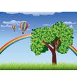 Tree on grass field 2 vector image
