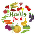 fresh organic vegetables and fruits healty food vector image