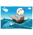 Galleon in the sea vector image
