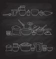 kitchen utensils on the blackboard vector image