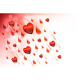 raining hearts on the light background vector image
