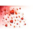 raining hearts on the light background vector image