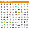 100 war icons set cartoon style vector image vector image