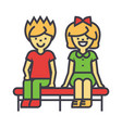 happy children sitting on bench boy and girl vector image