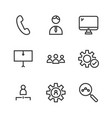 9 seo line icons vector image