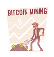 bitcoin mining lineart concept vector image