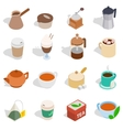 Tea and coffee set isometric 3d style vector image