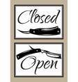 Set of vintage door signs for barber shop with vector image