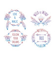 colorful bohemian banners with lettering vector image vector image