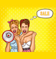 two pop art girls are reporting a sale vector image vector image