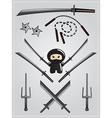 Collection of ninja weapon with cute ninja vector image