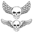 Winged Skulls isolated on white background vector image