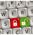 computer keyboard lock key vector image vector image
