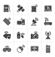 Black Wireless and communications icons vector image