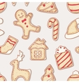 Hand drawn gingerbread cookies seamless pattern vector image vector image