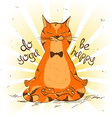 Cartoon red cat sitting on lotus position of yoga vector image vector image