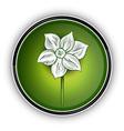white flower on the green symbol vector image