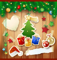 christmas background with tree gifts and paper vector image