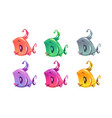 cute cartoon colorful little fishes set vector image