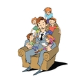 Large family dad in a chair with children vector image