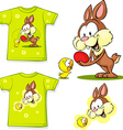 shirt with cute easter design - bunny an chicken vector image