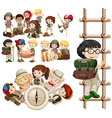 Children doing different activities for hiking vector image