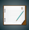 Diary note book and blue pencil vector image vector image