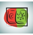 Set of doodle sun and moon day night isolated on vector image