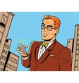 Retro Man With Glasses and Phone vector image vector image