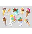 Big set of cute cartoon ice creams stickers cute vector image