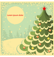 Vintage Christmas card with tree for textRetro vector image