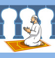 moslem men sit and pray vector image