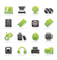 Computer Parts and Devices icons vector image