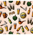 Seamless pub - beer handdrawn pattern vector image