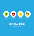 flat icon emoji set of pouting tears frown and vector image