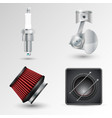 spark plug crank mechanism filter and car vector image