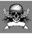 Vintage skull grunge biker motorcycle label vector image