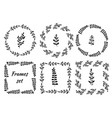 hand drawn vintage set of 6 round and square vector image vector image