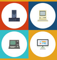 flat icon laptop set of technology display vector image
