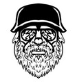 severe looking man with mustache and beard vector image